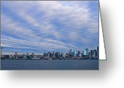 Seattle Skyline Greeting Cards - Blue Vortex Morning Greeting Card by Dan Mihai