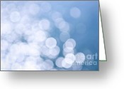 Blurry Greeting Cards - Blue water and sunshine abstract Greeting Card by Elena Elisseeva