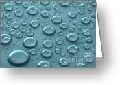 Water Photo Greeting Cards - Blue water drops Greeting Card by Blink Images
