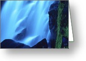 Waterfalls Greeting Cards - Blue waterfall Greeting Card by Bernard Jaubert
