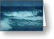 Textured Artwork Greeting Cards - Blue Waves - Jersey Shore Greeting Card by Angie McKenzie