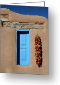 Chili Peppers Greeting Cards - Blue Window of Taos Greeting Card by Heidi Hermes
