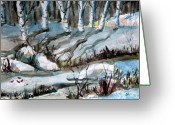 Feeding Drawings Greeting Cards - Blue Winter Greeting Card by Mindy Newman