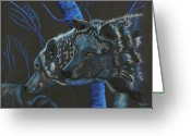 Wolves Pastel Greeting Cards - Blue Wolves Greeting Card by Mayhem Mediums