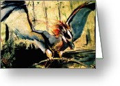 Landing Painting Greeting Cards - Blue Wyvern Greeting Card by Jamie Lee Lindenmeier