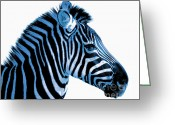 Fur Stripes Greeting Cards - Blue zebra art Greeting Card by Rebecca Margraf