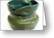 Thrown Ceramics Greeting Cards - Blue Ziggle Pot Greeting Card by Vernon Nix