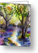 Ginette Fine Art Llc Ginette Callaway Greeting Cards - Bluebell Forest Watercolor Painting Greeting Card by Ginette Fine Art LLC Ginette Callaway