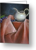 Fine Art - Still Lifes Greeting Cards - Blueberries and Cream Greeting Card by Enzie Shahmiri