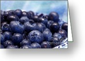 Luscious Greeting Cards - Blueberries Freshly Picked Greeting Card by Sharon  Talson