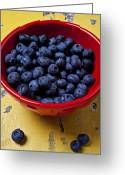 Dishes Greeting Cards - Blueberries in red bowl Greeting Card by Garry Gay