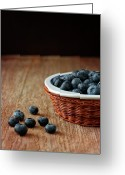 Wicker Greeting Cards - Blueberries In Wicker Basket Greeting Card by © Brigitte Smith