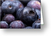 Huckleberry Greeting Cards - Blueberry background Greeting Card by Jane Rix