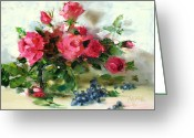 Flower Still Life Prints Painting Greeting Cards - Blueberry Knockouts Greeting Card by Chris  Saper