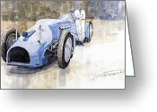  Bluebird Greeting Cards - Bluebird 1933 Daytona Malkolm Campbell Greeting Card by Yuriy  Shevchuk