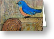 Wall Art Mixed Media Greeting Cards - Bluebird Art - Knowledge is Key Greeting Card by Blenda Tyvoll