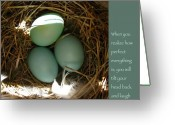 Baby Birds Greeting Cards - Bluebird Eggs with Buddha Quote Greeting Card by Heidi Hermes