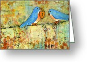 Wedding Greeting Cards - Bluebird Painting - Art Key to My Heart Greeting Card by Blenda Tyvoll