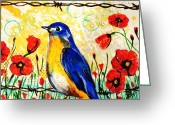 Paula Shaughnessy Greeting Cards - Bluebirds2 Greeting Card by Paula Shaughnessy