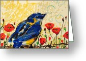 Paula Shaughnessy Greeting Cards - Bluebirds3 Greeting Card by Paula Shaughnessy