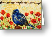 Paula Shaughnessy Greeting Cards - Bluebirds4 Greeting Card by Paula Shaughnessy