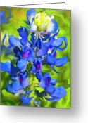 Impressionist Digital Art Greeting Cards - Bluebonnet Fantasy Greeting Card by Stephen Anderson