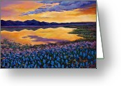 Mountains New Mexico Greeting Cards - Bluebonnet Rhapsody Greeting Card by Johnathan Harris