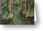 New Orleans Artist Greeting Cards - Bluebonnet Swamp Greeting Card by Dianne Parks