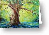 Oak Tree Greeting Cards - Bluebonnets Under The Oak Greeting Card by David G Paul