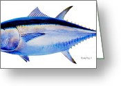 Nature Study Painting Greeting Cards - Bluefin tuna Greeting Card by Carey Chen