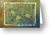 Fine Art Batik Tapestries - Textiles Greeting Cards - Bluegills Three Greeting Card by Sue Duda