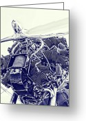 Vintage Aircraft Greeting Cards - Blueprint Radial Greeting Card by Steven Richardson