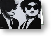 Black And White Canvas Greeting Cards - Blues Brothers Greeting Card by Katharina Filus
