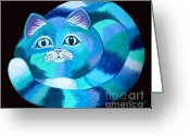 Blue Cat Greeting Cards - Blues Cat Greeting Card by Nick Gustafson