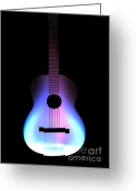 Music Digital Art Greeting Cards - Blues Guitar on Fire Greeting Card by Andy Smy