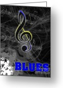 Linda D Seacord Greeting Cards - Blues Music Poster Greeting Card by Linda Seacord