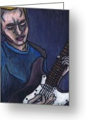 Musicians Pastels Greeting Cards - Blues Player Greeting Card by Kamil Swiatek
