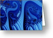 Fractal Art Greeting Cards - Blues Greeting Card by Ron Bissett
