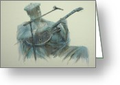 Guitar Pastels Greeting Cards - Blues Series - The Blues Man Greeting Card by September McGee