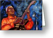 Blues Tapestries - Textiles Greeting Cards - Blues Vibe Greeting Card by Linda Marcille