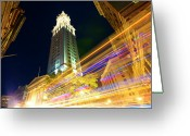 Long Street Greeting Cards - Blurred Boston Traffic At Night Greeting Card by Thomas Northcut