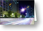 Long Street Greeting Cards - Blurred Traffic At Night Greeting Card by Thomas Northcut