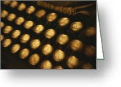 Typewriters Greeting Cards - Blurred View Of The Keys Of An Old Greeting Card by Todd Gipstein