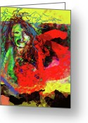 Red Woman Greeting Cards - Blush Greeting Card by James Thomas