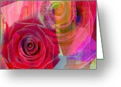 Yesayah Mixed Media Greeting Cards - Blushing Rose Greeting Card by Fania Simon