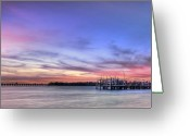Pink Dawn Greeting Cards - Blushing Skies Greeting Card by Evelina Kremsdorf