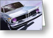 Bmw Classic Car Greeting Cards - Bmw 2002 Greeting Card by Uli Gonzalez