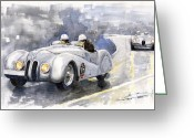 Roadster Greeting Cards - BMW 328 Roadster Greeting Card by Yuriy  Shevchuk