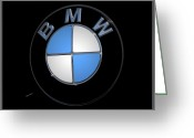 Sports Car Photo Greeting Cards - BMW Emblem Greeting Card by DigiArt Diaries by Vicky Browning