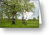 Watch Dog Greeting Cards - BMX Flatland Bride jumps in spring meadow Greeting Card by Matthias Hauser